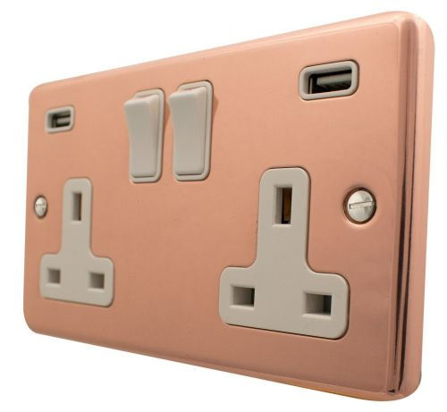 G&H CBC910W Standard Plate Bright Copper 2 Gang Double 13A Switched Plug Socket USB
